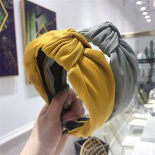 2019 High-end hair accessories women's solid color wide-brimmed middle knotted headband headband fashion girl hair band headwear(China)