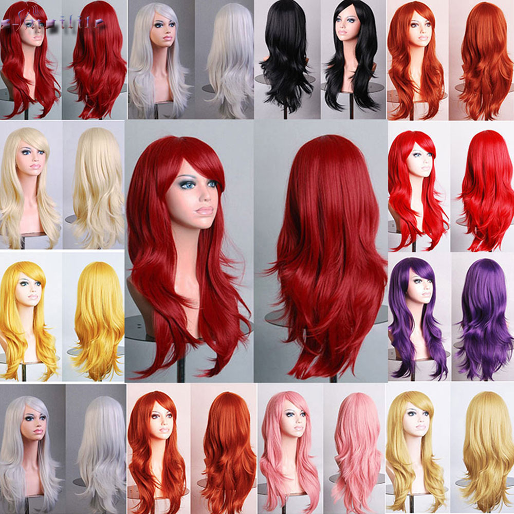 S-noilite 22inch Loose Wave Synthetic Wigs For Black Women Cosplay Wig Blue Red Pink Grey Purple Hair