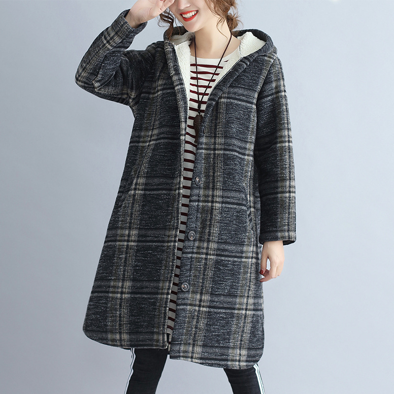 Johnature Women Vintage Hooded Parkas Thick Plaid Warm Winter Coat 2019 New Loose Casual Cloths Pockets