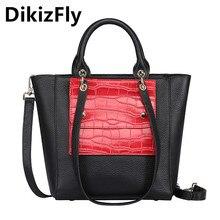 DikizFly Fashion Patchwork Women Bags Ladies Genuine Leather Tote Bags Women Handbag Brand Designer Shoulder bag Dollar costs