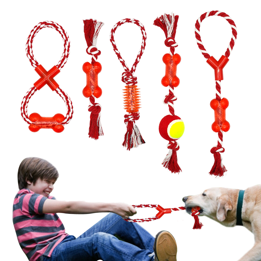 Cotton Pet Dog Rope Chew Tug Toy Knot Bone Ball Shape Pets Palying Teeth Cleaning Toys For Small Medium Large Dogs 5 Types 1