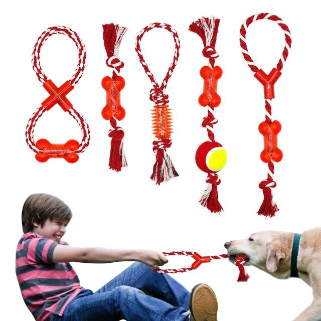 Cotone Pet Corda Cane Chew Toy Tug Knot Bone Forma di Palla animali domestici Pa
