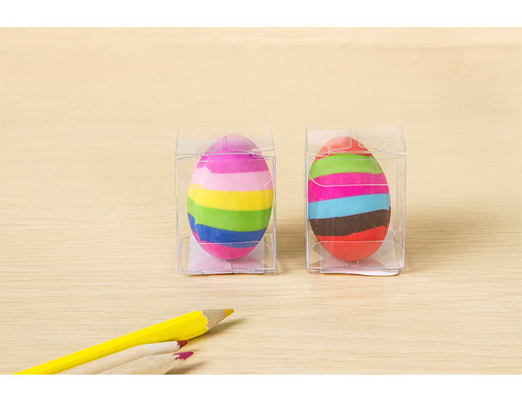 1 Pcs Kawaii Colorful Rainbow Stripe Egg Rubber Pencil Erasers Cute School Student Eraser For Kids Drawing Correction Stationery
