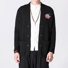 Men Chinese Style embroidery Cardigan Sweater coat Male Fashion Casual Knitted Sweater Jacket