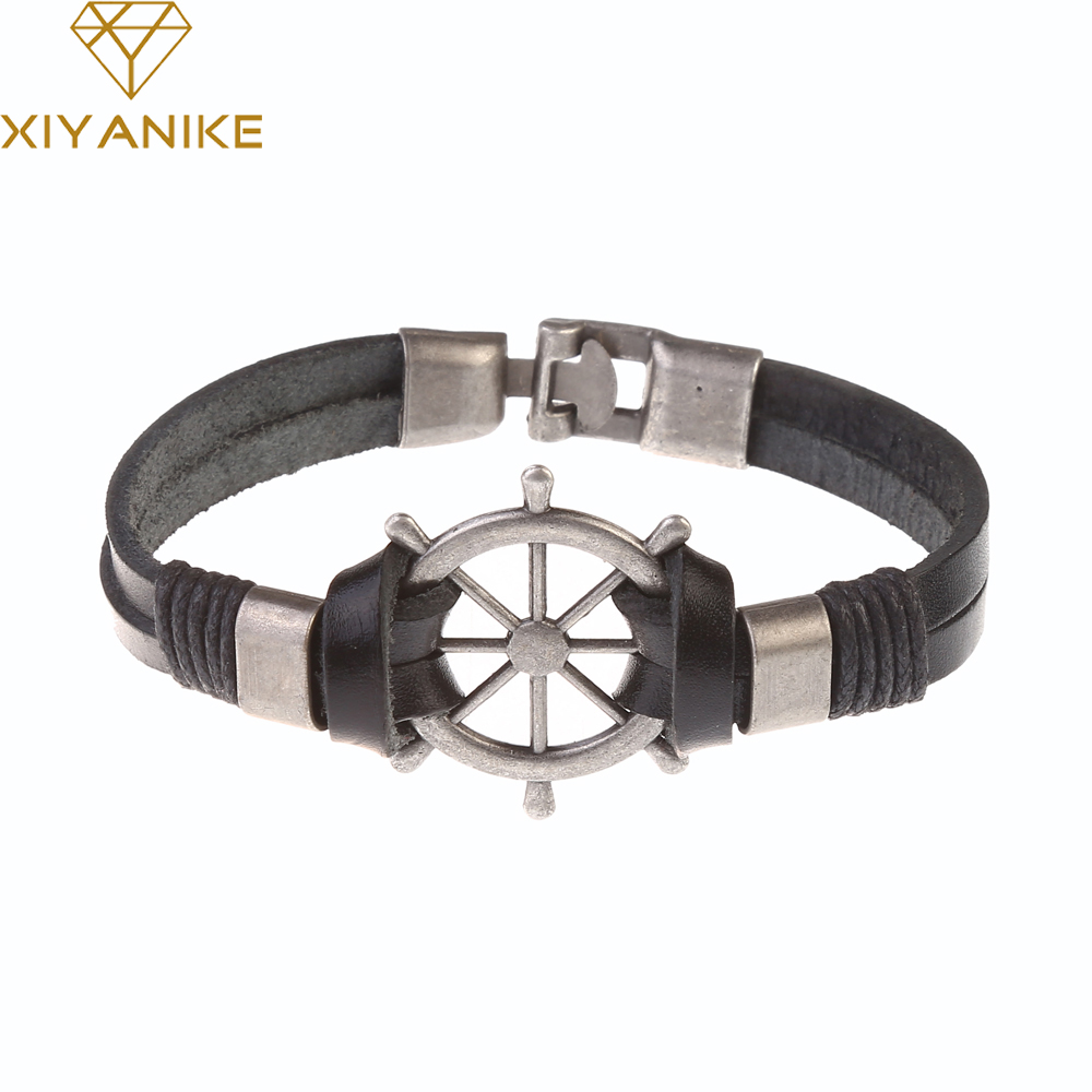 2017 New Fashion Multi-Layer Mens Black Leather Strap Bracelets Casual Easy Alloy Hook Link Chain Bracelet Men Jewelry XY-B1