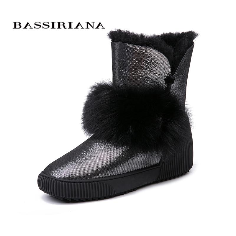BASSIRIANA Nuevo 2018 genuino de gamuza de piel de oveja caliente invierno botas de nieve Zapatos de las mujeres aumenta la plantilla de piel del dedo del pie redondo 35-40 tamaño