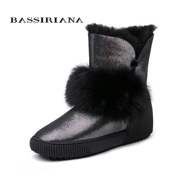 BASSIRIANA/Новые 2018 натуральной овчины теплые замшевые зимние ботильоны зимние ботинки женщин увеличить меховые стельки с круглым носком 35-40 размер