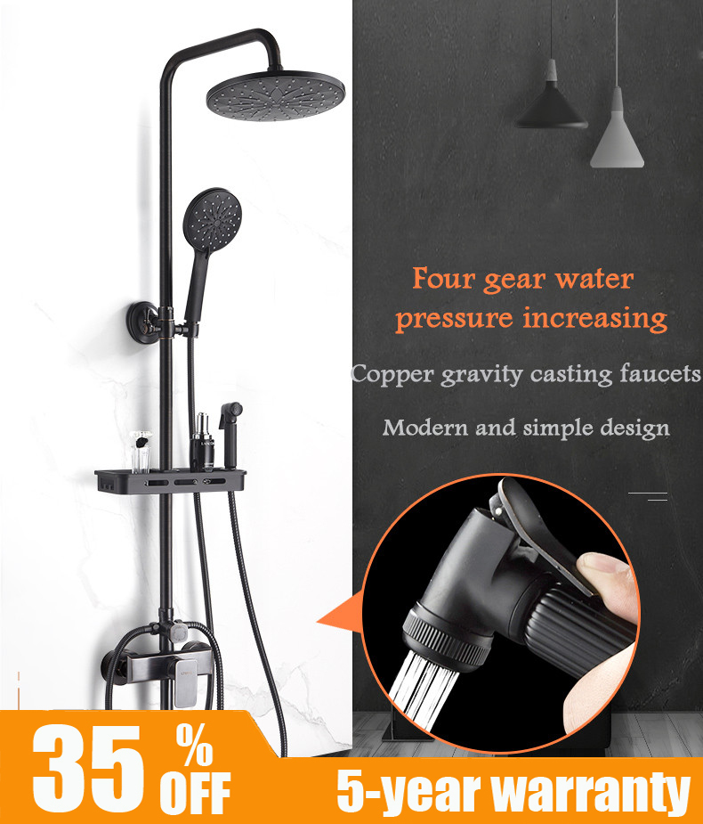 купить LTENG matt black shower set system copper shower set with hand spray and spray gun classic shower faucet head free shipping по цене 8883.87 рублей