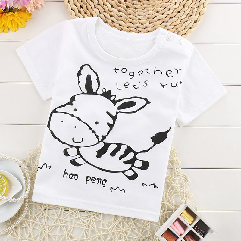 summer Kids Tops cotton Cartoon Short Sleeves T shirt for Girls Boys t shirt Children's T-Shirts Child Tops Tee Free shipping classic plaid pattern shirt collar long sleeves slimming colorful shirt for men