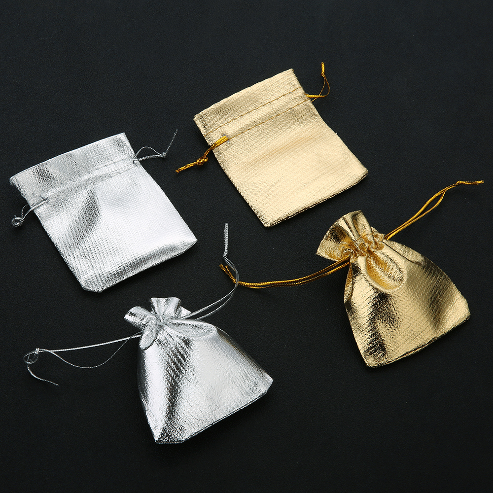10pcs/lot Gold Silver Adjustable Jewelry Packing 7x9cm 9x12cm 10x15cm 13x18cm Drawable Organza Pouch Christmas Wedding Gif