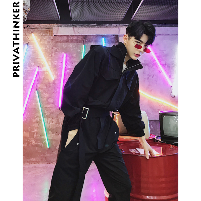 Pants 2019 Cool Men Casual Cargo Pants Jumpsuit Man Multi-pocket Hooded Hip Hop Overalls Male One Piece Long Sleeved Winter Trousers Men's Clothing