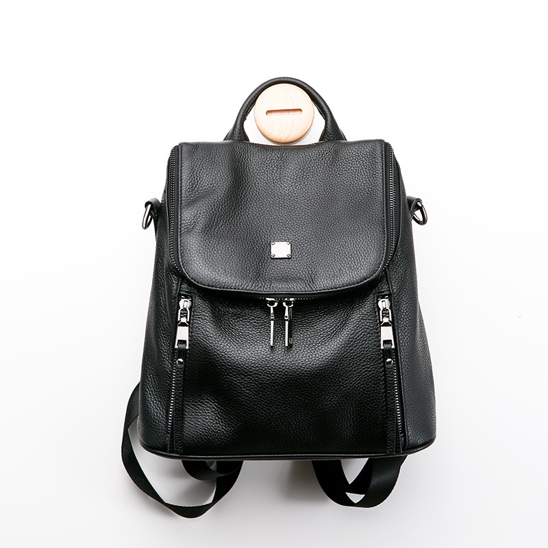 2018 New Female Shoulder Backpack 100% First Layer of Calf Leather Shoulder Bag Large Capacity School Casual Travel Bag Black 2018 new women backpacks female trend wild personality embroidery large capacity shoulder bag travel casual girl school backpack