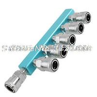 Metal One Touch Fitting 6 Way Air Hose Quick Coupler Connector