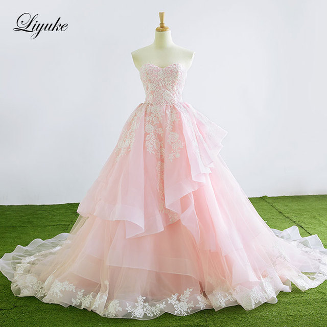 Lace Up Design Strapless A Line Pink Wedding Dress Court Train ...