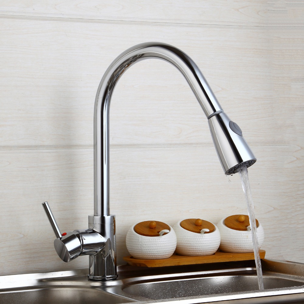 Solid Brass Swivel Pull Out Kitchen Mixer Cold and Hot Tap Kitchen Sink Faucet Single Hole Water Tap Kitchen Faucet kitchen chrome plated brass faucet single handle pull out pull down sink mixer hot and cold tap modern design