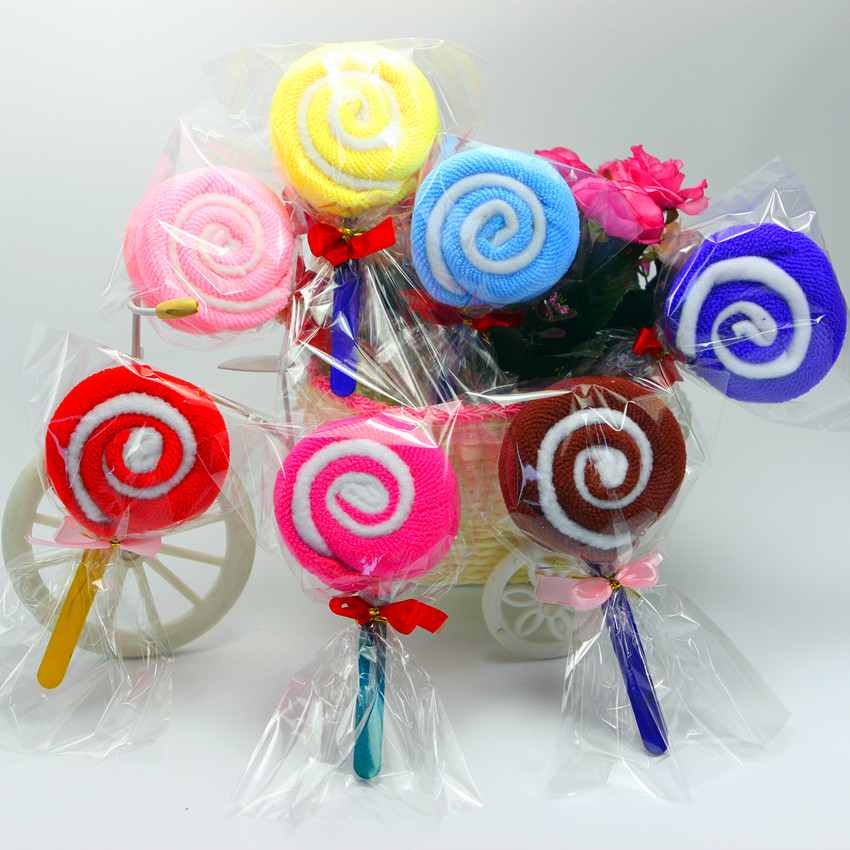 Cake Topper Mini Lollipop Shape Cake Decorating Supplies Wash Cloth Cake Ornament Towel Present Wedding Party Favor Gift