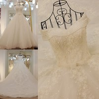 Rhinestone wedding dress lace up back sweeheart ball gown luxury crystal wedding dress long train real photos casamento