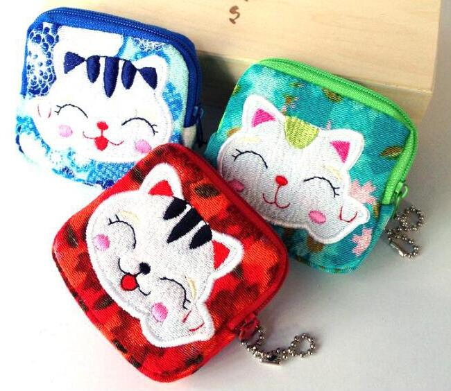 50pcs/pack Lovely Women Purse Lucky Cat 10 Styles Small Zero Wallet Cloth Coin Purses Canvas Bag Women Student Gift Wholesale