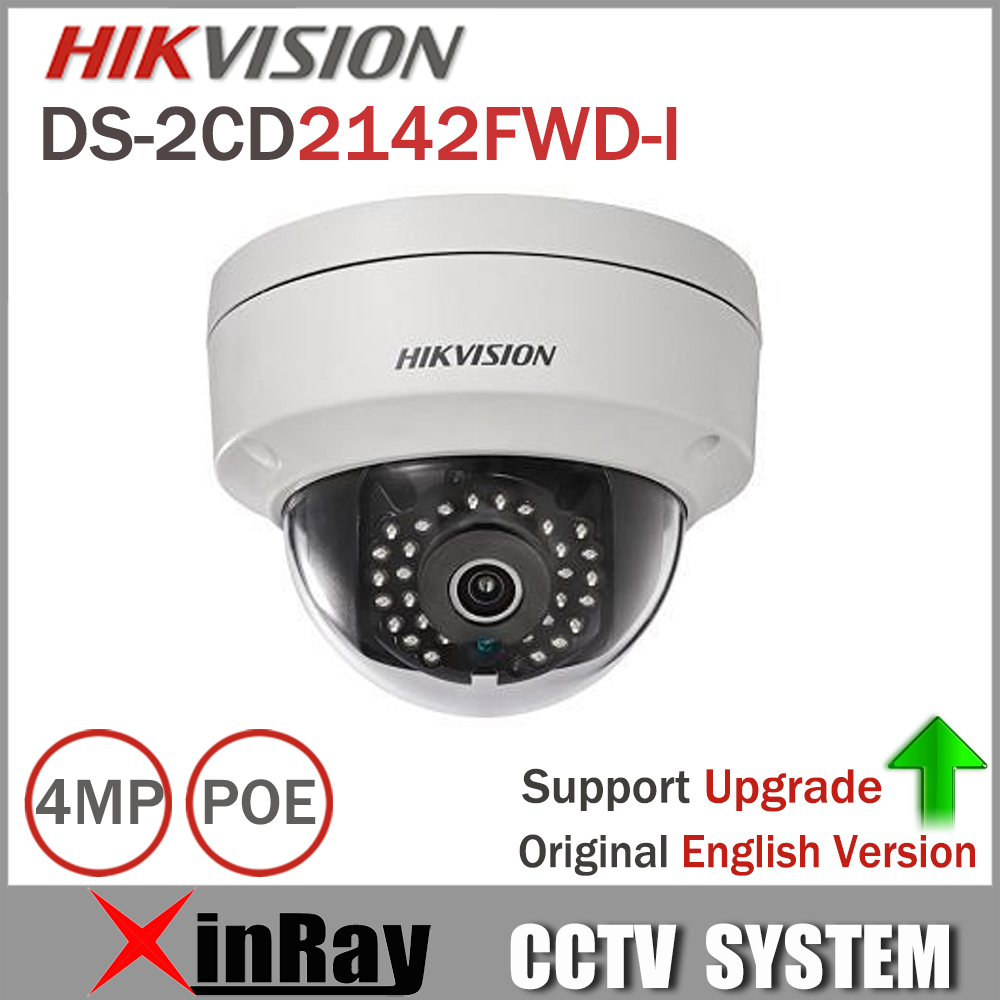 Hikvision 4MP IP Camer DS-2CD2142FWD-I IP POE Camera Day/night Infrared IP67 IK10 Protection Outdoor Dome Camera support ONVIF hikvision ds 2de7230iw ae english version 2mp 1080p ip camera ptz camera 4 3mm 129mm 30x zoom support ezviz ip66 outdoor poe