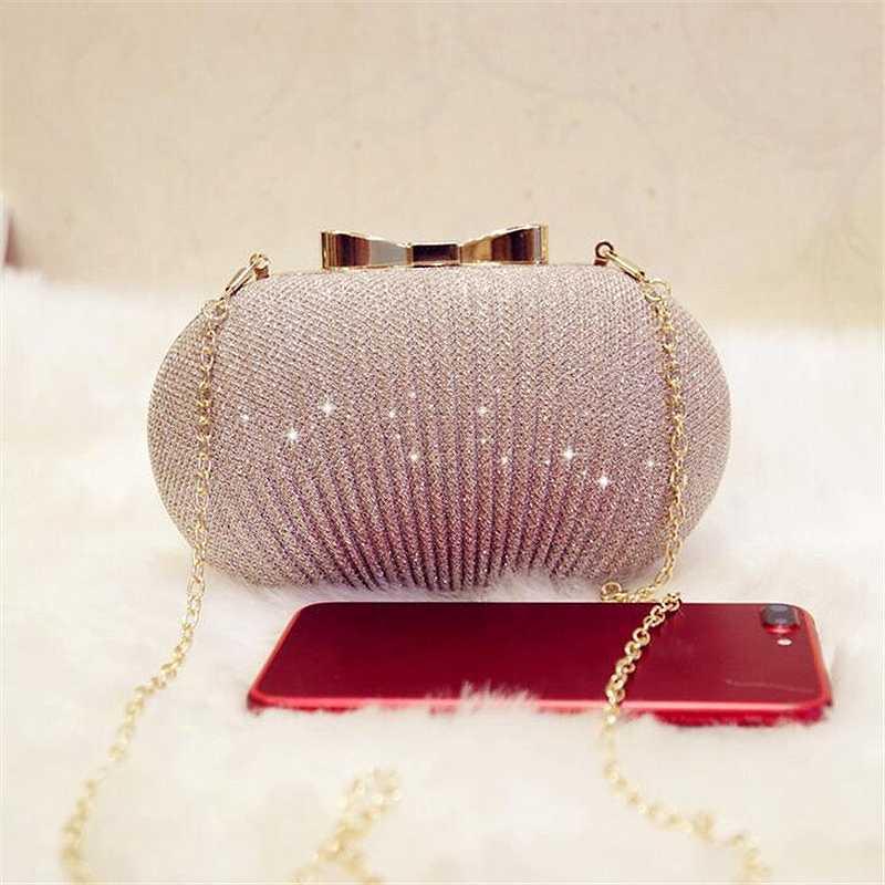 JHD-altın akşam el çantası kadın çantaları düğün parlak çanta gelin Metal yay manşonlar çanta zinciri omuzdan askili çanta