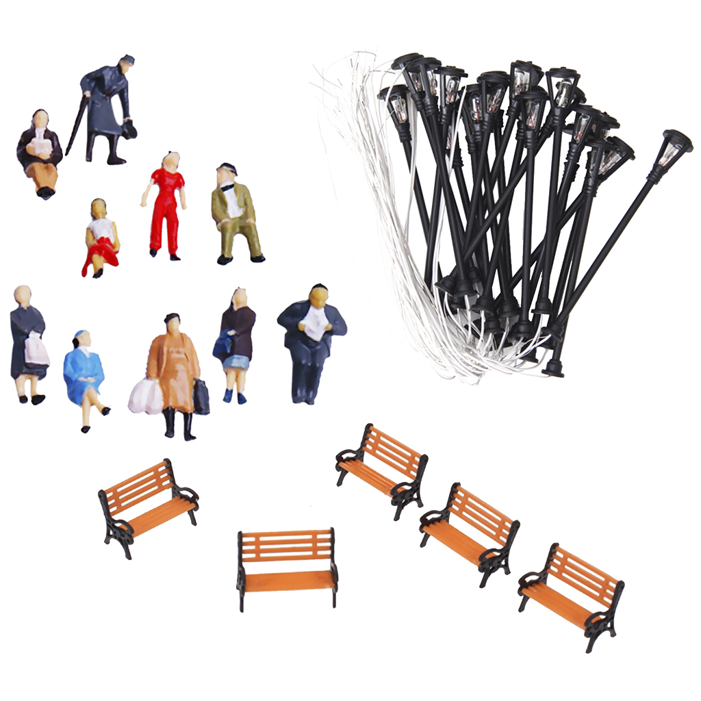 24 People Figures/5 Bench/20 Lamppost Lights Model Train RR Scenery HO Scale