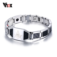 Vnox Masonic Carbon Fiber Men Health Care Bracelet Bangle Magnetic Energy Power Stainless Steel Bracelets Jewelry