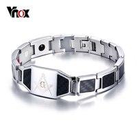Vnox Masonic Carbon Fiber Men Health Care Bracelet Bangle Magnetic Energy Power Stainless Steel Bracelets Jewelry