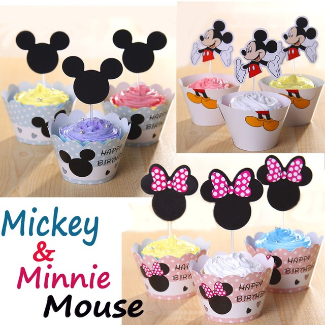 7 design Minnie and Mickey Mouse Cupcake Decorations Cupcake Wrapper