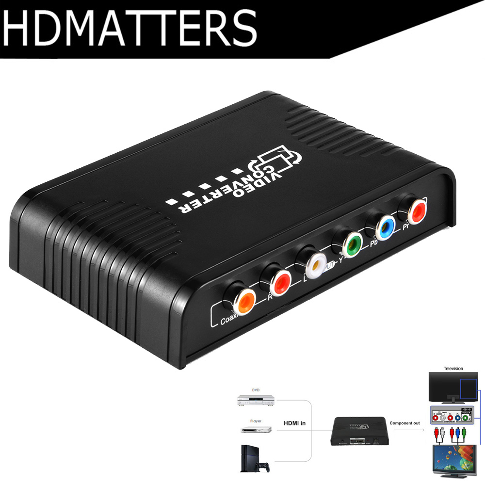 HDMI Component Converter HDMI To Component 5 RCA Ypbpr Video&audio Converter HDMI In To Component Video+L/R Stereo Audio Out