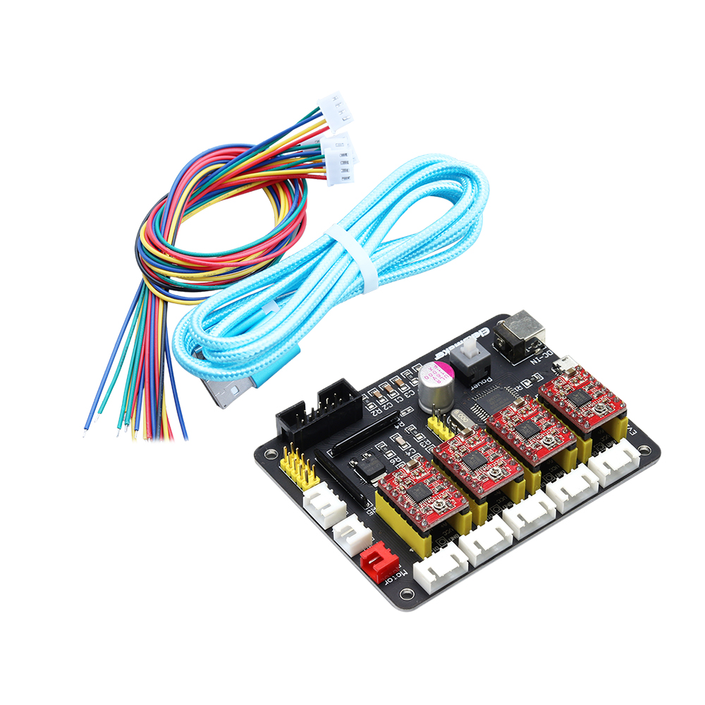 EleksIVAxis XYZA 4 Axis Stepper Motor Driver Controller Board Control Panel + USB Cable + 2P+ 3P+4P Lines For DIY Laser EngraverEleksIVAxis XYZA 4 Axis Stepper Motor Driver Controller Board Control Panel + USB Cable + 2P+ 3P+4P Lines For DIY Laser Engraver