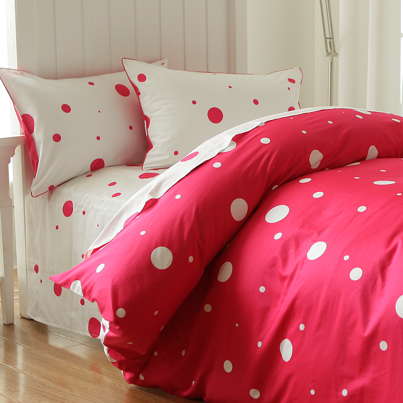Cute Cartoon Polka Dot Bed Set Twin Full Kids Plush Cotton