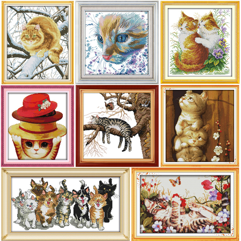 Joy Sunday Different kinds of cats Cross stitch kit DMC Needlework Embroidery Cross-Stitch set DIY handwork Fabric 14CT and 11CT image