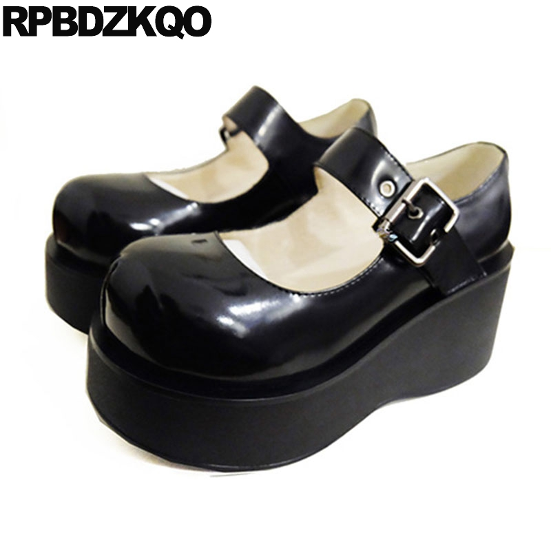 где купить Size 33 Strap Round Toe Ladies Lolita Pumps High Heels Gothic Harajuku Patent Leather Mary Jane Creepers Platform Wedge Shoes по лучшей цене
