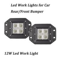 2Pcs 3 12V 24V 12W Led Light With Flush Mount IP67 Offroad CUBE Light For Car