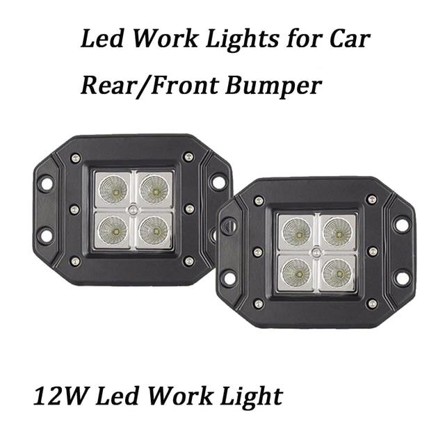 2pcs 3 12v 24v 12w led light with flush mount ip67 offroad cube
