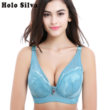 3084da92e Big Breast bra super large Lingerie bh increase Push up bras Solid Rhine  Decorative Strappy Bra