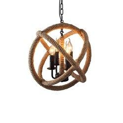 GZMJ liny lampy wiszące w stylu Vintage wiszące lampy ręcznie dzianiny konopi okrągłe Loft żelaza piłka krajem ameryki oprawy dla restauracji