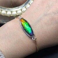 Fine Jewelry канада происхождения 925 Серебро S925 чистого серебра 100% настоящий аммонит женские браслеты для женщин тонкие браслеты