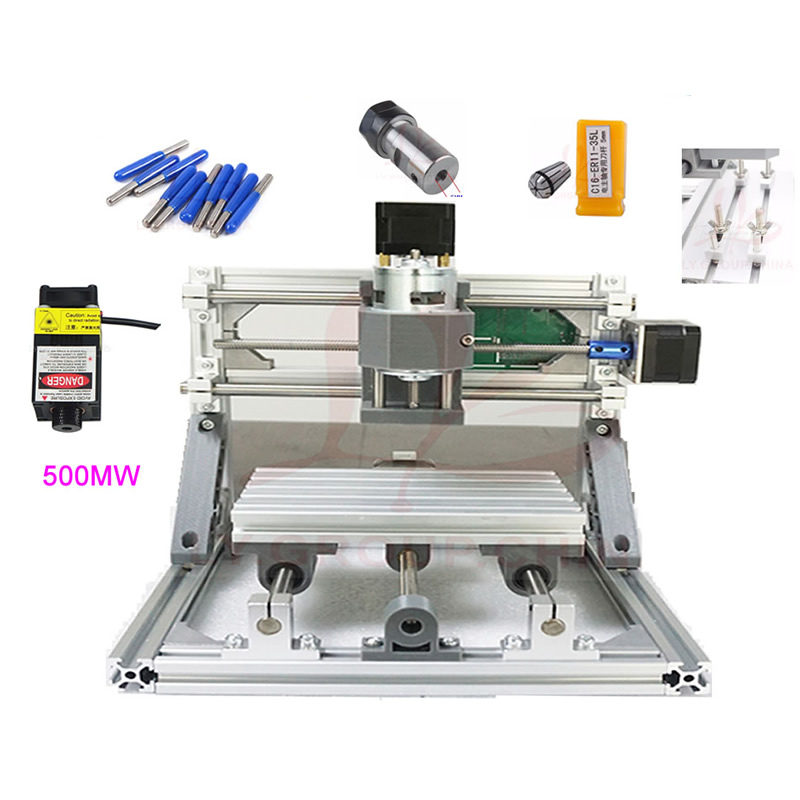 DIY Mini CNC 3018 Router+ 500MW/ 2500MW/ 5500MW laser Woodworking Machine 300*180mm with Engraving Tools, Clamp and ER11 as Gift