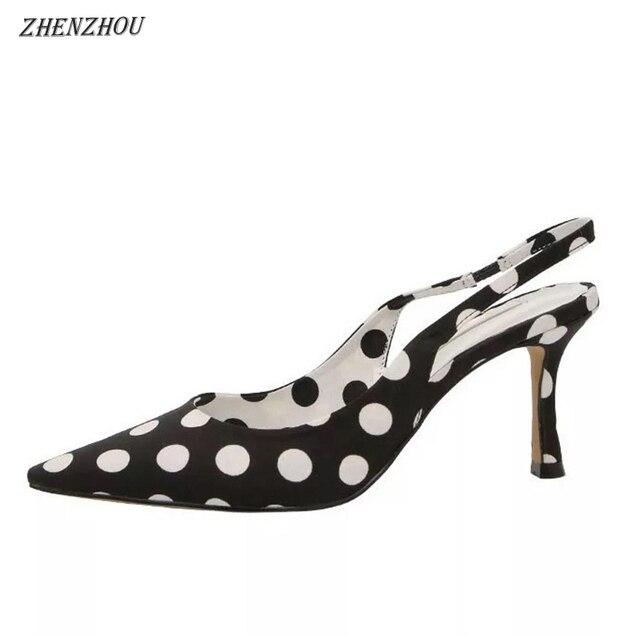 f91d2ebb6880 ZHENZHOU New Elegant Black White Women s Polka Dot Silky Sandals Pumps High  Heels Single Dress Party