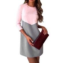 Patchwork Élégant Bureau Dress Femmes Printemps Mode Casual Il Trimestre Manches O cou OL Tunique Mini Robes Dames robe femme(China (Mainland))