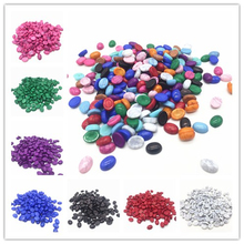 50pcs/lot Size 6x8mm Pick Colors Acrylic Half oval Imation Pearls Beads Flatback Nail Art Decorate Diy