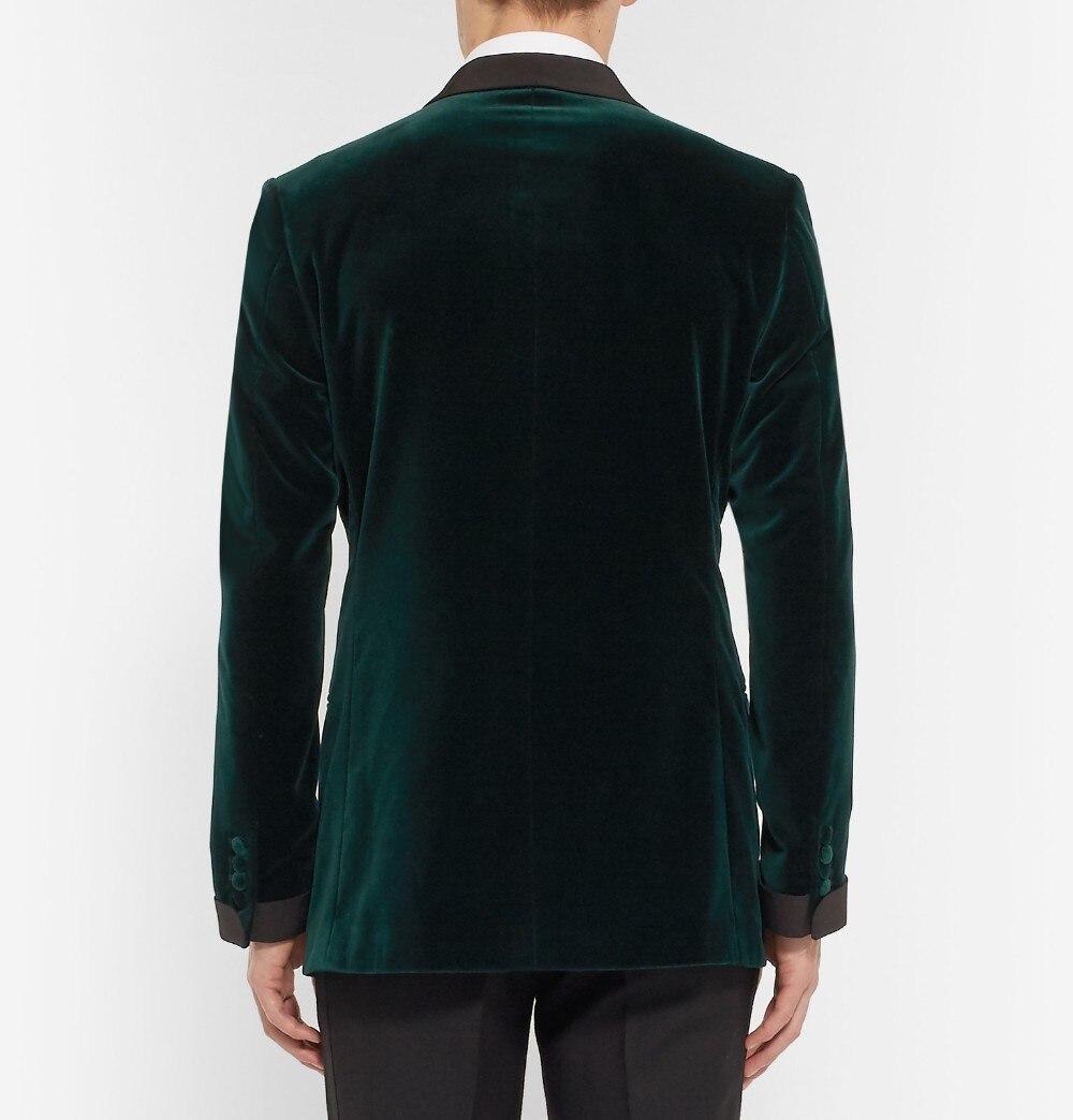 Green Velvet Tuxedo Jacket Designs Custom Made Men Suit jacket Elegant Smoking Dinner Jacket Slim Fit Wedding Suits For Men 3