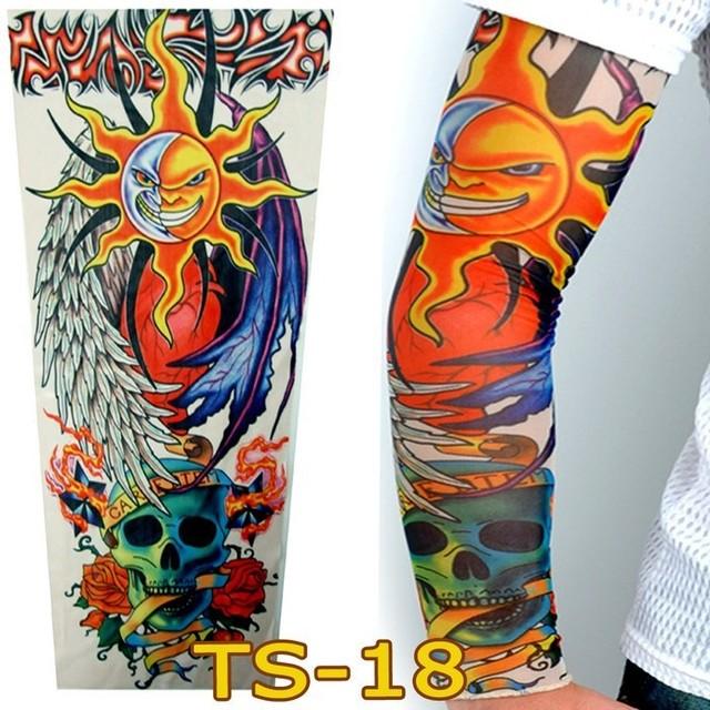1 Pc Tattoo Sleeves W-18 Styles Elastic Fake Nylon Arm Stockings Sun Skull Design Halloween Tattoo Sexy Women Cool