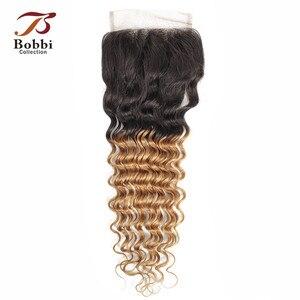 Image 3 - Bobbi Collection T 1B 27 Vetersluiting Ombre Honing Blond Donker Bruin Kleur 2 Kleur 4 Diepe Golf Braziliaanse Non  Remy Human Hair