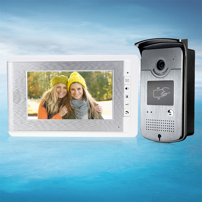 High Quality 7 inch Color Video Door Phone Intercom System Indoor Monitor With IR Night Vision Camera+RFID Keys FREE SHIPPING tmezon 4 inch tft color monitor 1200tvl camera video door phone intercom security speaker system waterproof ir night vision 4v1
