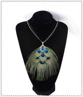 Free Shipping FEN0022 20 Pcs Lot Hot Sale Vintage Natural Peacock Feather Necklace