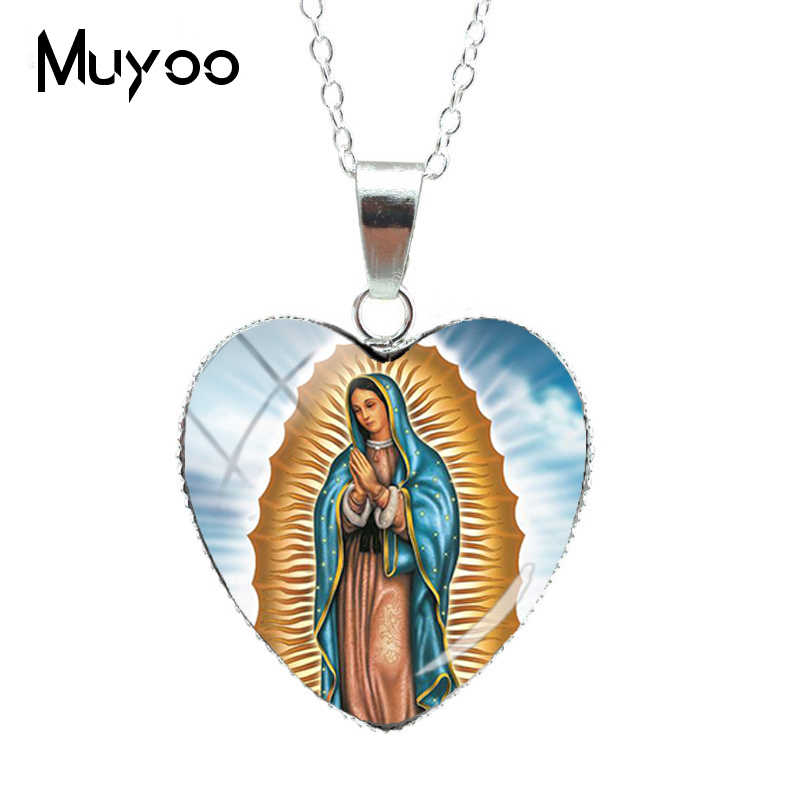 2019 New Fashion Virgin Mary Heart of Love Pendants Necklace Our Lady of Guadalupe Jewelry Glass Art Heart NecklacesHZ3