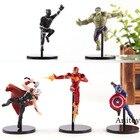 PUTITTO Series Marvel Avengers Superhero Action Figures Hulk Captain America Thor Black Panther Iron Man Mini PVC Toy 5pcs/set