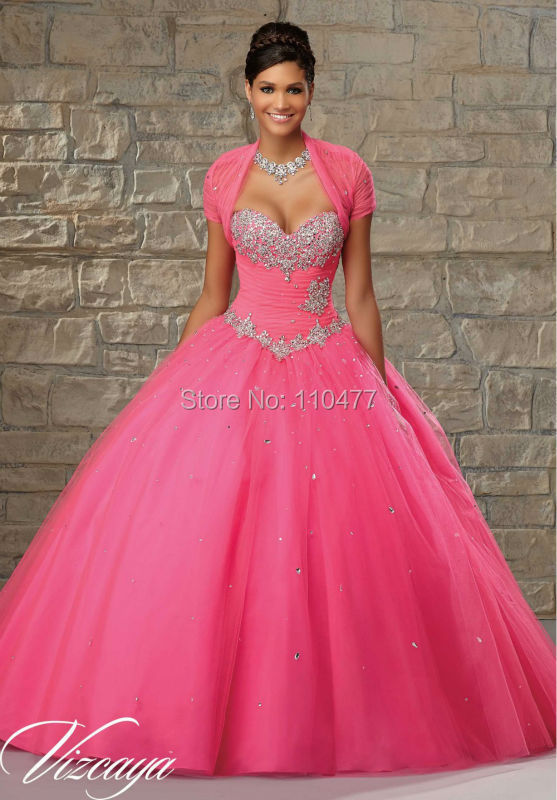 27a1467c0 Vestidos de 15 Anos Elegant 2015 Hot Pink Quinceanera Dresses Ball Gowns  with Jacket Bolero TA028 Organza with Crystal